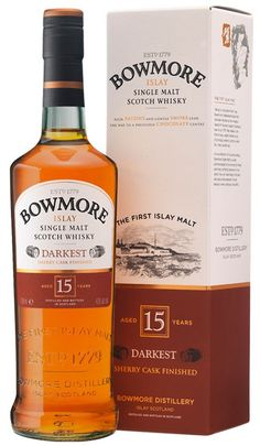Bowmore The Darkest 15 Year Old Single Malt #Scotch #Whisky.  Aged for 15 years, this single malt earned the Double Gold Medal at the San Francisco World Spirits Competition in 2013.   @Caskers