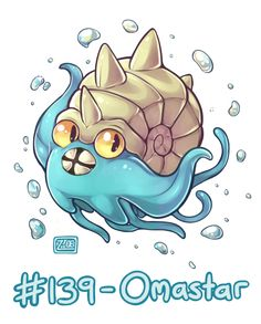 """socket-art: """"Daily Pokémon Doodle #139 - Omastar! Love this weird fossil. All its sprites look like it's doing an enthusiastic little dance, and that's adorable. """""""