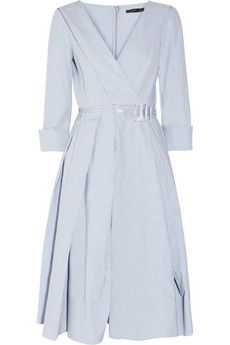 Pleated linen and cotton-blend dress by Donna Karan