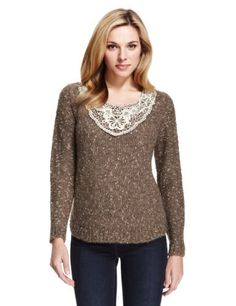 M&S Collection Floral Lace Tweed Jumper with Mohair-Marks & Spencer