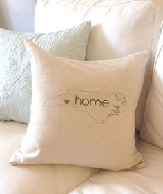 North Carolina Home Pillow Cover, NC Home Pillow, State Outline Pillow