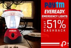 #Paytm #offers Flat 51% #cashback on Eveready Emergency Light Products. 51% Cashback Coupon Code: HOME51. 25% Cashback Coupon Code: HNK25  http://www.paisebachaoindia.com/get-flat-51-cashback-on-eveready-emergency-light-paytm/
