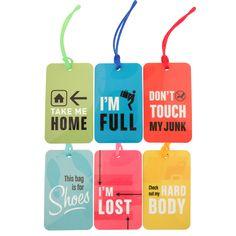 Plastic Luggage Tag Set Of 6.
