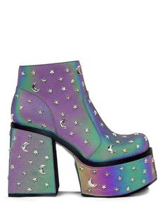 Multi Colored Reflective Vegan leather Upper Silver Star and Moon Studs platform and 4 heel. Heeled Boots, Shoe Boots, Shoes Heels, Rave Shoes, Kawaii Shoes, Glitter Boots, Funky Shoes, Aesthetic Shoes, Unique Shoes