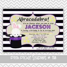 Magic 2 Purple Personalized Party Invitation-personalized invitation, photo card, photo invitation, digital, party invitation, birthday, shower, announcement, printable, print, diy,magic, magician, magical