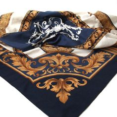 Navy White and Brown Scarf  Vintage Ornamental by EclecticShop, £12.50