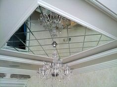 Зеркальная плитка с фацетом, центральная композиция на потолке в виде панно