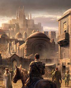 m Fighter hilvl Plate Armor Horseback Castle Basi city Holergrad temple streets stairs castle Fantasy Art Watch : Photo Fantasy City, Fantasy Castle, Fantasy Places, High Fantasy, Medieval Fantasy, Sci Fi Fantasy, Fantasy World, Fantasy Concept Art, Fantasy Story