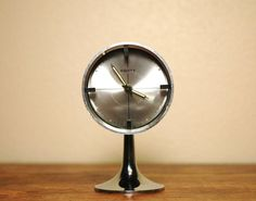 Mid Century Modern Chrome Pedestal Clock Tulip Base by JunkHouse
