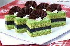 matcha green tea and black sesame mousse cake