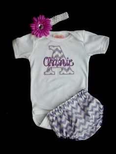 Girl take home outfit?? Chevron Baby Girl Outfit Monogrammed Onesie  Diaper Cover Flower Headband Personalized