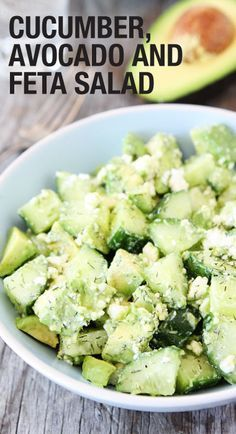 Cucumber, Avocado, and Feta Salad Recipe on twopeasandtheirpo. This fresh and simple salad is perfect for summer! Avocado Recipes, Salad Recipes, Avocado Ideas, Party Recipes, Recipes Dinner, Summer Recipes, Vegetarian Recipes, Cooking Recipes, Healthy Recipes