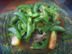 stir fried beans and pork with oyster sauce.