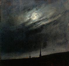 Moon Night Over Dresden - by Johan Christian Dahl