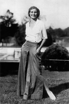 Giant Pants of the '30s. Whereas in the 1920s casual clothes, while made in different materials, had been shaped the same as formal styles, the 1930s saw the development of fashions for sport and leisure that formed a separate entity. These included lounging pajamas—a major late-1920s and early-1930s fad—worn primarily at the seaside, and all manner of pants, shorts, playsuits, and culottes. This sporty costume, a cross between a long skirt and pants, worn with a camp-type shirt, won a prize…