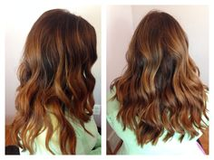 Ombré and balayage highlights using Redken flashlift lightener. Process 30 minutes and tone with Redken Shades eq 09T/08Gn for 3-5 minutes /// soft brunette // caramel brown // beach waves // Redken