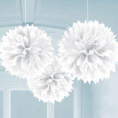 3 weiße PomPoms