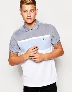Fred Perry Polo Shirt with Block Stripe in Dark Carbon