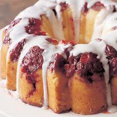 Glazed Cranberry-lemon cake - a reason to use my bundt pan again.