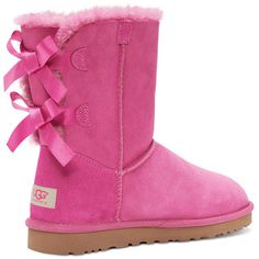UGG® Australia Bailey Bow Boots ($205) ❤ liked on Polyvore featuring shoes, boots, ankle booties, uggs, ankle boots, apparel & accessories shoes, princess pink, pink bow boots, slip on booties and bootie boots