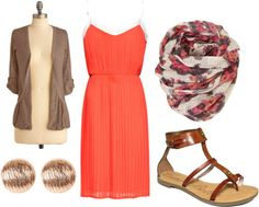 How to wear a tangerine dress for day with sandals, a patterned scarf, basic brown cardigan and circle earrings find more women fashion ideas on www.misspool.com