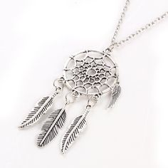 Dream Catcher Pendant Necklace Silver Colors
