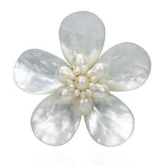 Daisy Delight Mother of Pearl and Cultured Freshwater White Pearl Pin-Brooch - CM11W70HYMZ - Brooches & Pins  #jewellrix #Brooches #Pins #jewelry #fashionstyle