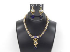 Indian Bollywood Handcrafted Polki Fashion Jewellery Necklace With Earrings Set #VGJewel