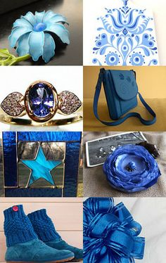 My flower brooch is featured in this treasury! Beautiful Blues for This Gray Wednesday... by Phyllis on Etsy--Pinned with TreasuryPin.com