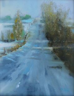 Martha Spak Landscape painting in oil of first frost on country road