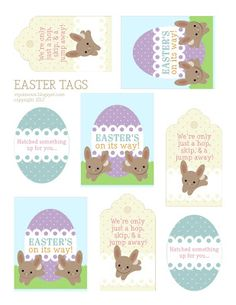 """Free printable Easter tags: """"We're only just a hop, skip, & a jump away!"""", """"Hatched something up for you..."""" and """"Easter's on its Way!"""""""