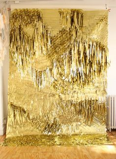 A wall installation of GOLD GOLD GOLD!!