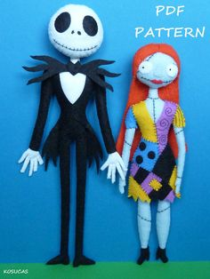 PDF sewing pattern to make a felt Jack and Sally 10-9 inches tall (27-24 cm). They are not a finished dolls. Includes tutorial with pictures and step by step explanation. For hand sewing. Difficulty: high Instructions in Spanish-English. Things to do with this pattern can be sold in your own shop. Mass production, re-sale and distribution of pattern pieces and instructions is Expressly prohibited. Dolls made from this pattern are not suitable for children under 3. Instant download. If you…