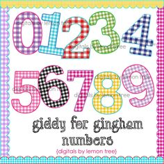 Digital Clip Art -- Giddy for Gingham Numbers (Instant Download). $3.00, via Etsy.