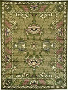 Damask Green Area Rug