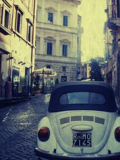 """Image of Vintage Rome, Volkswagen Beetle, Italy Travel Photography - Fine Art 8x10"""" Matte Photography Print"""