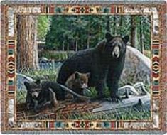 New Discoveries Black #Bear Tapestry Throw Blanket  #BeddingNMore #Cabin #Lodge #Wildlife #Decorating