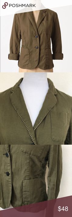 "Anthropologie Cartonnier Piped Boy Blazer in Green Anthropologie Cartonnier Piped Boy Blazer in Green olive . Excellent used condition. Piping details around collar and edges. Three pockets at front. Sleeves are 3/4 with three button details. Roll up or fold up. Linen cotton blend. Two button closure. Length 21"", pit to pit 18"" when buttoned up. No trades, offers welcome! Bundle & save! Anthropologie Jackets & Coats Blazers"