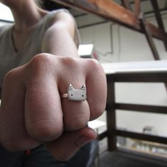 Tom Cat Ring  Sterling Silver Cat Ring