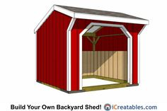 Run in shed and small horse barn plans from iCreatables. Search through our shed designs and plans by style and size. Don't forget to check out our resources. 10x10 Shed Plans, Lean To Shed Plans, Run In Shed, Diy Shed Plans, Building A Storage Shed, Shed Storage, Building Plans, Backyard Buildings, Backyard Sheds