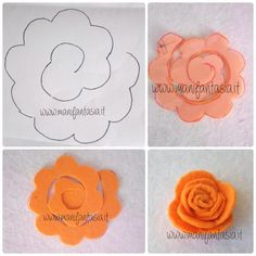 Incredible Kungelei roses 6 simple seamless sample Incredible … - My CMS Rolled Paper Flowers, Large Paper Flowers, Paper Roses, Diy Flowers, Fabric Flowers, Felt Diy, Felt Crafts, Large Paper Flower Template, Felt Flowers Patterns