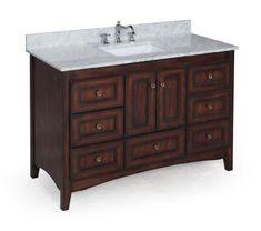 Abbey 48-inch Bathroom Vanity (Carrara/Brown): Includes Italian Carrara Marble Top, Soft Close Drawers, Shaker Style Cabinet and Rectangular Ceramic Sink