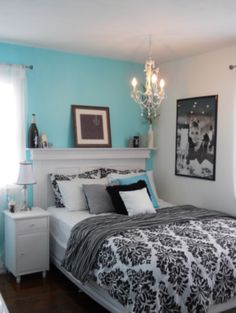 Girls Blue & Black Tiffany inspired bedroom on a budget. again, EXACTLY like my new room! Dream Rooms, Dream Bedroom, Girls Bedroom, Master Bedroom, Trendy Bedroom, Bedroom Black, Blue Bedrooms, Teen Bedrooms, Bedroom Bed
