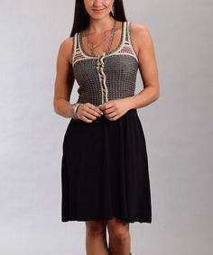 Black & Gray Knit Scoop Neck Skater Dress - Women #zulily #zulilyfinds