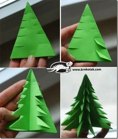 Fold & Cut Paper Christmas Trees ~ full photo tutorial of this technique at krokotak.