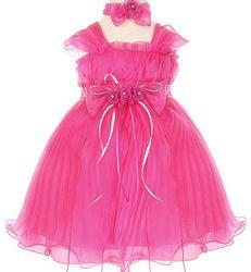 Crystal Organza Fuschia Baby Party Dress