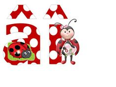 S.T.R.U.M.F.: Litere mari si cifre buburuze Smurfs, Alphabet, Collage, Christmas Ornaments, Holiday Decor, Ladybugs, Reptiles, Insects, Wall