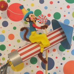 Rocket Riding Monkey With Balloon Cake by marileejanedesigns, $36.00