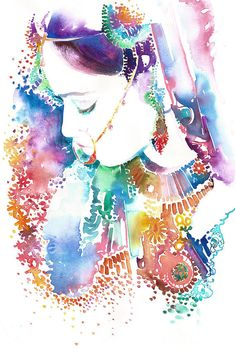 Original Watercolour Painting by Cate Parr - Indian Woman, Indian Fashion, New Watercolor Indian Bride 8, Indian Fashion