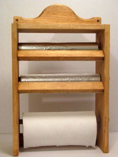 Wood Paper Towel Foil Wax Paper Saran Wrap Roll Holder